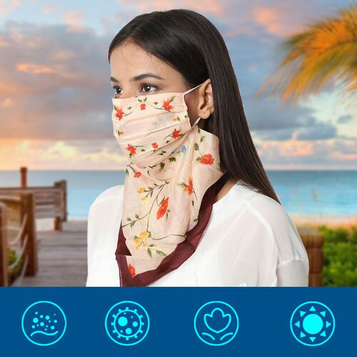 New Arrival- 2 in 1 Flower Pattern 100% Mulberry Silk Scarf and Protective Face Covering in Cream Co