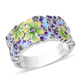 Jardin Collection - Pink Sapphire, Madagascar Blue Sapphire Enamelled Floral Ring in Rhodium Overlay