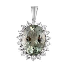 9.75 Ct Prasiolite and Cambodian Zircon Halo Pendant in Platinum Plated Sterling Silver