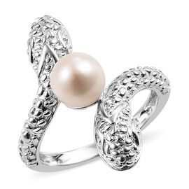 Fresh Water Pearl (1.75 Ct) Platinum Overlay Sterling Silver Bypass Ring  1.750  Ct.