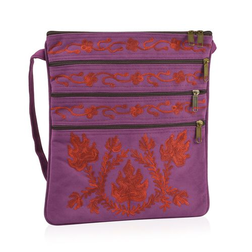 Purple and Red Colour Hand Embroidered Floral and Leaves Pattern Sling Bag with External Zipper Pock