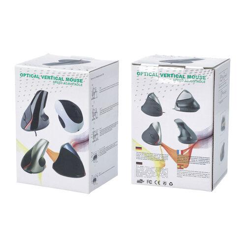 6D Ergonomic Vertical Computer USB Wireless Mouse - Black