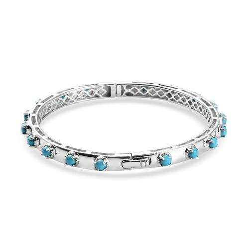 Arizona Sleeping Beauty Turquoise Bangle (Size 8) in Platinum Overlay Sterling Silver 3.25 Ct, Silver wt. 22.00 Gms