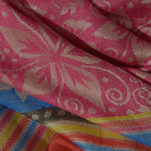 Pink and Multi Colour Flower and Stripe Pattern Jacquard Scarf (Size 190x70 Cm)