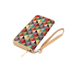 Signare - NEW Long Zip Round Wallet in Multi Coloured Triangle design with RFID. (19.50 x 10 x 0.98