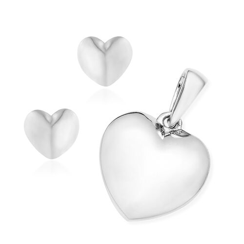 Platinum Overlay Sterling Silver Heart Pendant and Earrings (with Push Back)