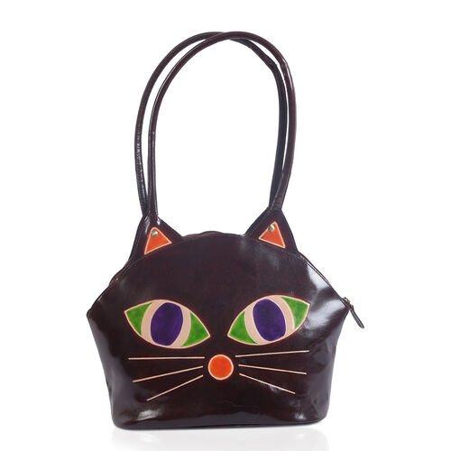 100% Genuine Leather Brown and Multi Colour Cat Face Hand Painted Shoulder Bag with RFID Blocking (S