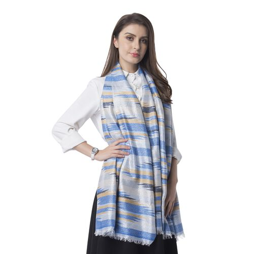 Blue, Silver and Yellow Colour Strip Shape Pattern Scarf (Size 192x70 Cm)