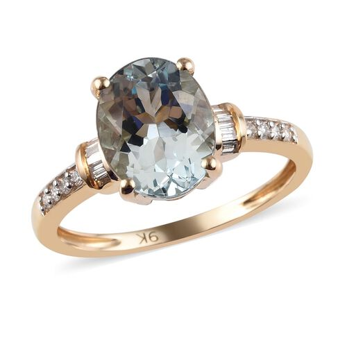 2.36 Ct AA Santo Aquamarine and Diamond Ring in 9K Yellow Gold 2.27 Grams