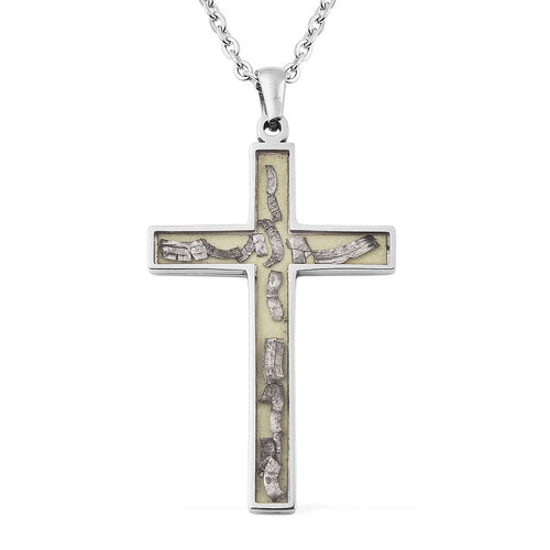 Meteorite Cross Pendant With Chain (Size 24) in Stainless Steel