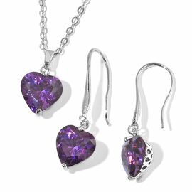 2 Piece Set  - Simulated Amethyst (Hrt 8 mm) Heart Pendant With Chain (Size 18 with 2 inch Extender)