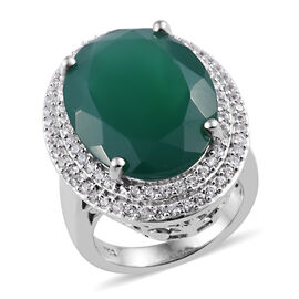 11.75 Ct Verde Onyx and Cambodian Zircon Halo Ring in Platinum Plated Sterling Silver 5 Grams