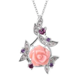 Jardin Collection - Pink Mother of Pearl, Rhodolite Garnet, Amethyst and Natural White Cambodian Zir