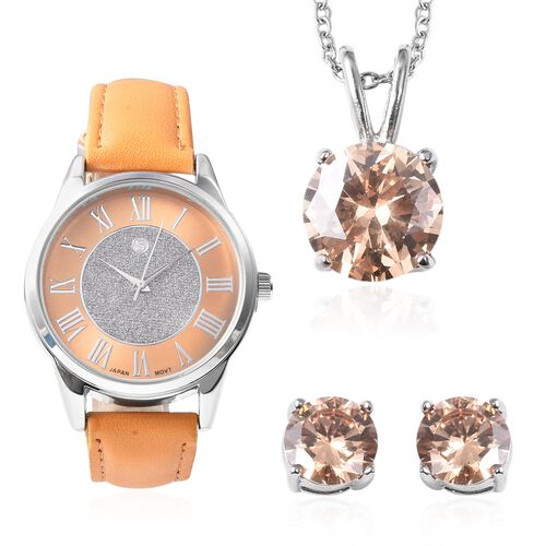 3 Piece Set - Simulated Champagne Colour Diamond (Rnd) Pendant with Chain (Size 20), Earrings (with