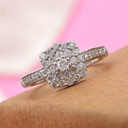 9K White Gold SGL Certified Diamond (I2-I3/G-H) Ring 0.50 Ct.