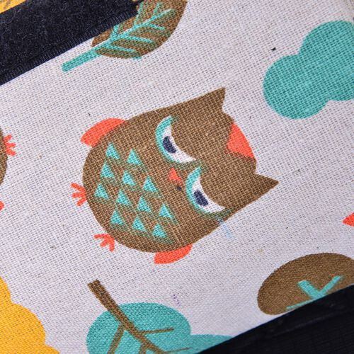 Yellow, Cream, Green and Multi Colour Cotton Rich Picnic Blanket with Printed Owls and Waterproof Lining (Size 130x145 cm)