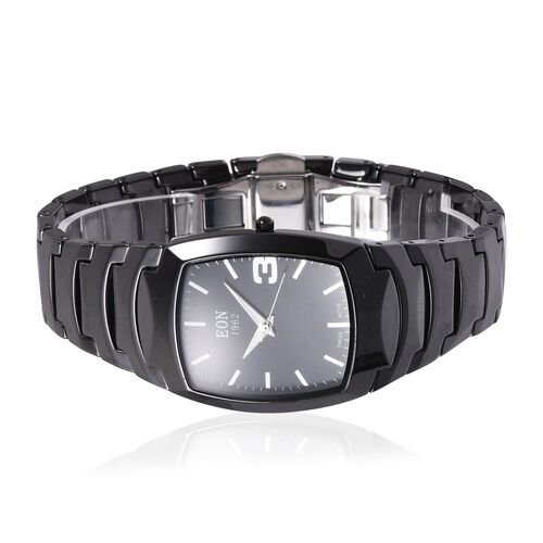 EON 1962 Swiss Movement 3ATM Water Resistant Watch with Black Ceramic Strap