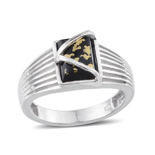 Goldenite (Bgt) Solitaire Ring in Platinum Overlay Sterling Silver 1.750 Ct. Silver wt. 4.52 Gms.