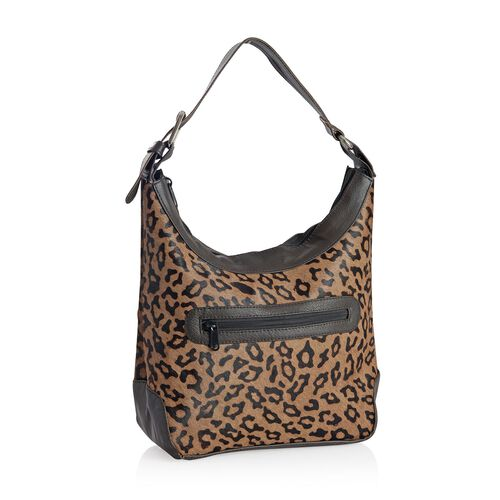 100% Genuine Leather Leopard Pattern Chocolate Colour Handbag with External Zipper Pocket and Adjustable Shoulder Strap (Size 32x24x11 Cm)