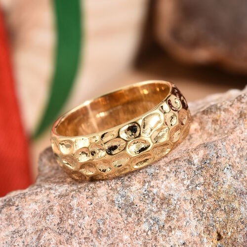 7mm Texture Band Ring in Gold Plated 925S Silver 4.50 grams