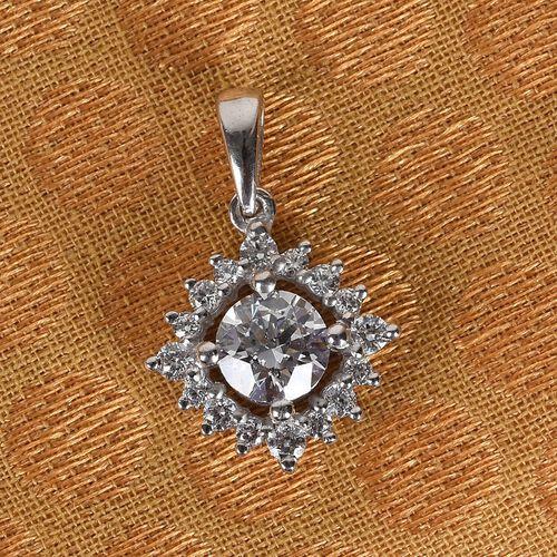 J Francis - Platinum Overlay Sterling Silver Pendant  Made with SWAROVSKI ZIRCONIA