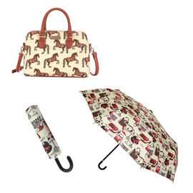 Signare Tapestry - Whistlejacket Triple Compartment Bag with FREE UMBRELLA
