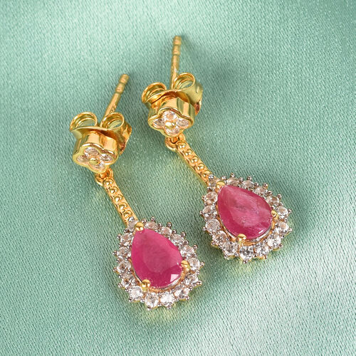 African Ruby and Natural Cambodian Zircon Dangle Earrings (with Push Back) in 14K Gold Overlay Sterling Silver 1.95 Ct.