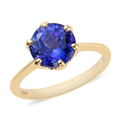 ILIANA 2.25 Ct AAA Tanzanite Solitaire Ring in 18K Yellow Gold 3.42 Grams
