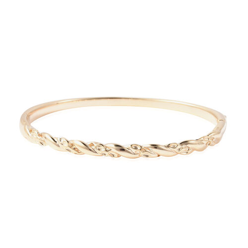 Monster Deal RACHEL GALLEY Twisted Lattice Bangle in Gold Plated Sterling Silver 7.5 Inch