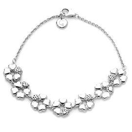 RACHEL GALLEY Rhodium Plated Sterling Silver Heart Flower Bracelet (Size 8), Silver wt 11.00 Gms.