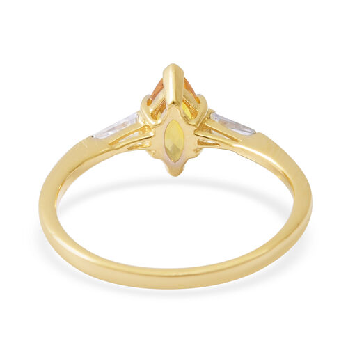 9K Yellow Gold AA Yellow Sapphire (Mrq), Natural Cambodian White Zircon Ring 1.190 Ct.