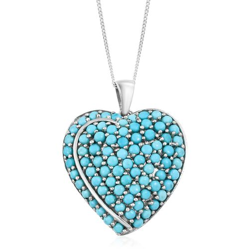 Arizona Sleeping Beauty Turquoise (Rnd) Heart Pendant with Chain in Platinum Overlay Sterling Silver 3.500 Ct. Silver wt 6.14 Gms.