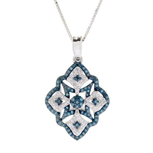 0.50 Carat Blue diamond and Diamond Blue and White Diamond Pendant in Sterling Silver