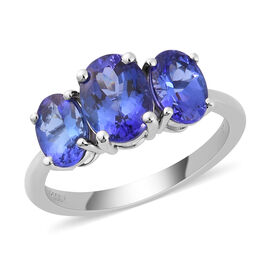RHAPSODY 3.25 Ct AAAA Tanzanite 3 Stone Ring in 950 Platinum 4.43 Grams