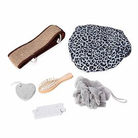7 Piece Set - Bath Accessory Kit in Black Gift Box (Included Leopard Bath Cap, PE Mesh Ball, Pumice