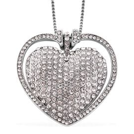 White Austrian Crystal (Rnd) Heart Necklace (Size 28 with 2 inch Extender) in Silver Tone