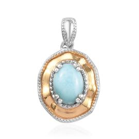 1.45 Ct Larimar Solitaire Pendant in Platinum and Gold Plated Sterling Silver