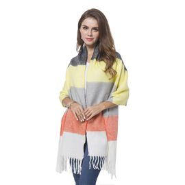 Italian Designer Inspired- Yellow, White and Multi Colour Horizontal Stripes Pattern Knitted Scarf with Tassels (Size 190X60 Cm)