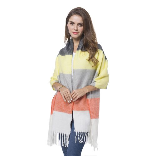 Italian Designer Inspired- Yellow, White and Multi Colour Horizontal Stripes Pattern Knitted Scarf w