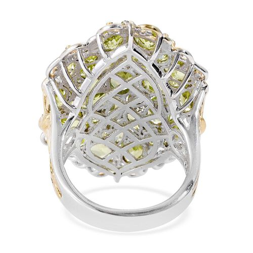 Cocktail Collection - Hebei Peridot (Ovl) Cluster Ring in Platinum and Yellow Gold Overlay Sterling Silver 10.750 Ct. Silver wt 9.25 Gms.