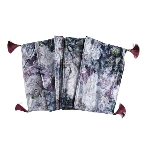 Sateen Lined Crushed Table Velvet Runner with White Roses Print and Tassels (Size 40x160 cm)