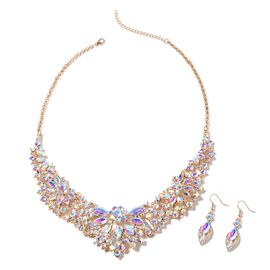 2 Piece Set - Simulated AB Crystal (Mrq), Simulated Mystic White Crystal Necklace (Size 21.5 with 2.