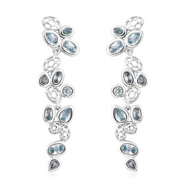RACHEL GALLEY Misto Collection - Ratnakiri Blue Zircon Earrings (with Push Back) in Rhodium Overlay