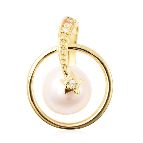 Edison Pearl and Natural Cambodian Zircon Pendant in Yellow Gold Overlay Sterling Silver