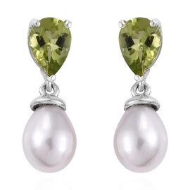 Fresh Water Pearl (5.80 Ct),Chinese Peridot Platinum Overlay Sterling Silver Earring  7.250  Ct.