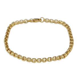 Diamond Cut Box Belcher Chain Bracelet in 9K Yellow Gold 4 Grams 7.5 Inch