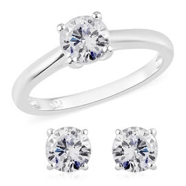 2 Piece Set - J Francis Sterling Silver Solitaire Ring and Stud Earrings (with Push Back) Made with