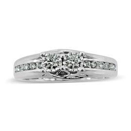 0.50 Carat Diamond Half Eternity Ring in 10K White Gold 3.3 Grams I2 GH