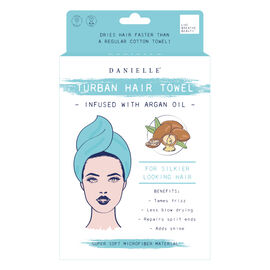 Danielle: Argan Oil Infused Hair Towel - Light Sea Green