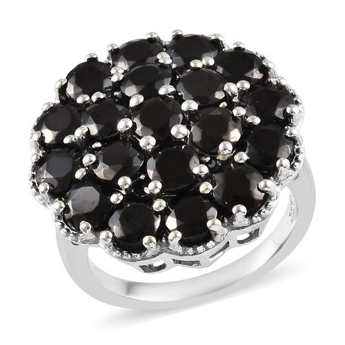 3.98 Ct Elite Shungite and Boi Ploi Black Spinel Cluster Ring in Platinum Plated Silver 5.38 Grams